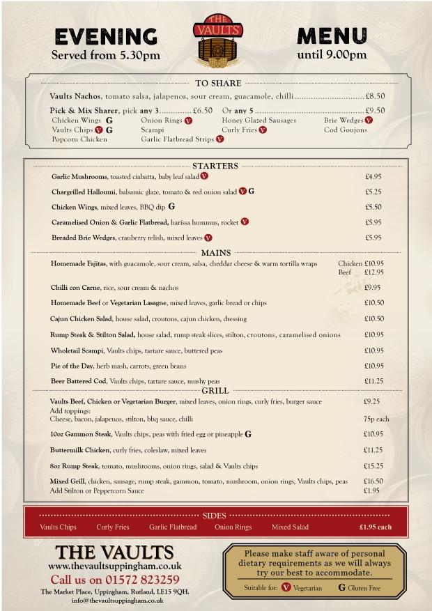 Evening menu single website