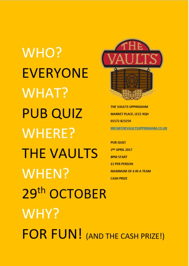 Vaults Pub Quiz 29th October 2017