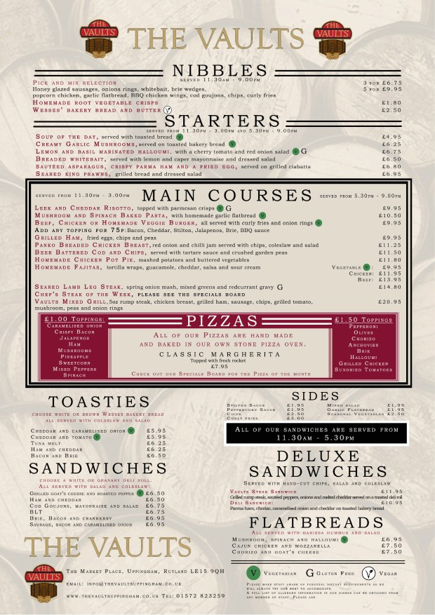 Vaults summer menu