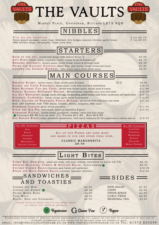 The Vaults Menu Summer 2019