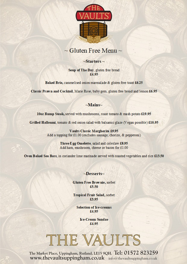 The Vaults Gluten Free Menu 2020
