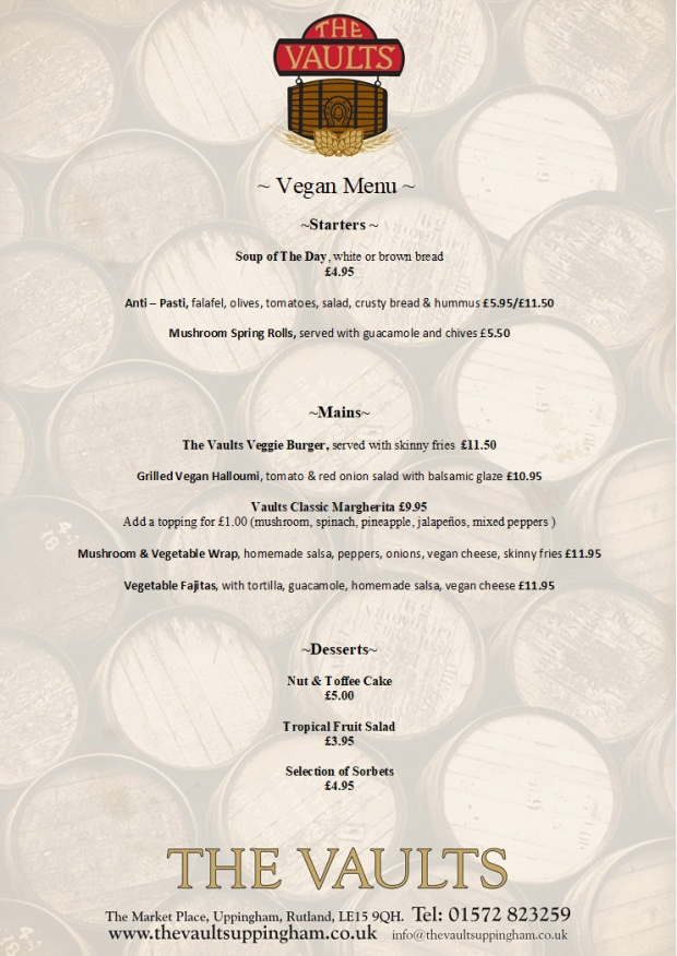 The Vaults Vegan Menu 2020
